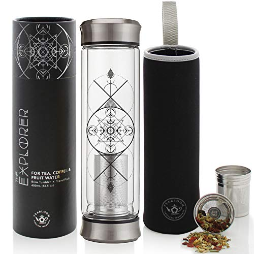 Teabloom All-Beverage Tumbler – 14 oz / 400 ml – Double Wall Insulated Glass Travel Flask – Hot Tea & Cold Brew Coffee Thermos – Removable Sleeve – Opens From Both Ends Providing Easy Cleaning