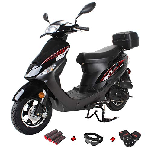 X-Pro Maui 50cc Moped Scooter Gas Moped Scooter 50cc Moped Street Scooter Aluminum Wheels,Black