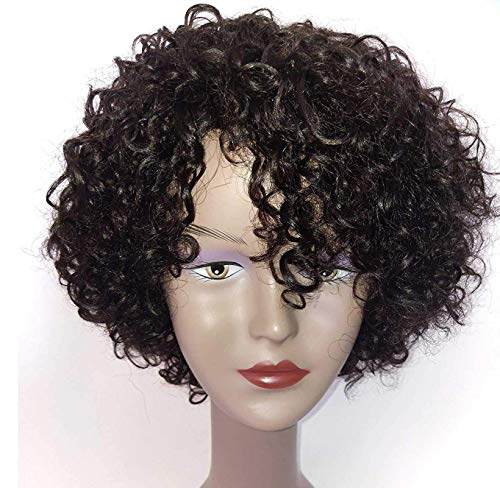 Brazilian Wigs 10 inch Short Kinky Curly Human Hair Wigs For Black Women Short Bob Wigs No Lace Front Natural Color Side Part