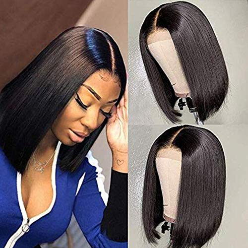Short Human Hair Bob Wigs for Black Women Brazilian Virgin Lace Closure Bob Wig Pre Plucked Natural Hairline with Baby Hair Bleached Knots 10 Inch 150% Density