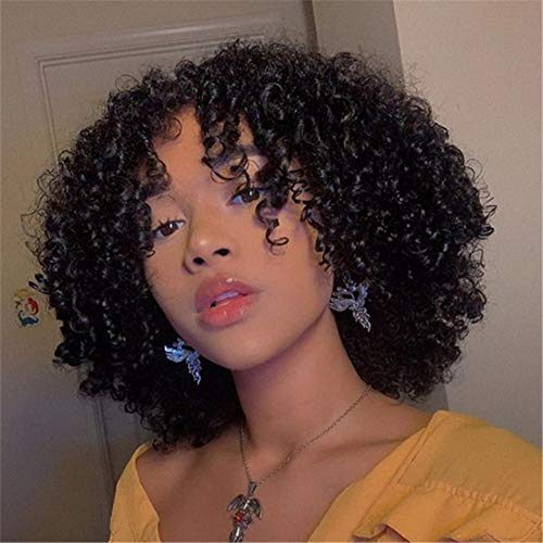 HANGFIRST Short Bob Curly Human Hair Wigs Brazilian Human Hair Kinky Curly Wigs with Bangs None Lace Front Wigs Natural Looking for Black Women(1 B)