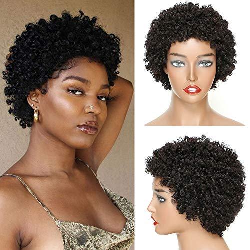 Ms Taj Short Human Hair Afro Wigs for Black Women Brazilian Virgin Short Curly Afro Wigs Human Hair 150% Density Natural Black