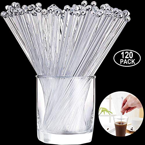 Aboat 120 Pieces 7.3 Inch Plastic Round Top Swizzle Sticks, Crystal