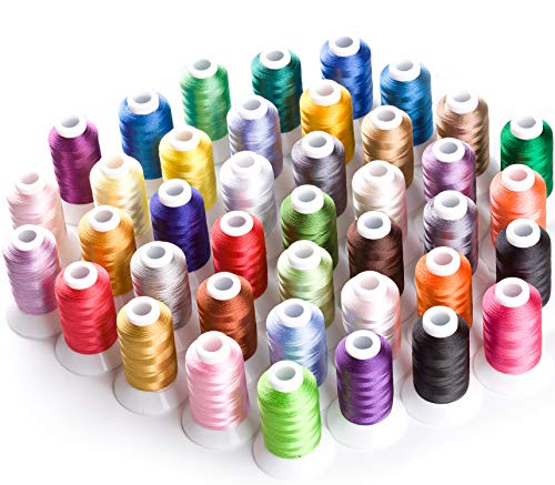 Simthread Brother 40 Colors 40 Weight Polyester Embroidery Machine Thread Kit 550Y(500M) for Brother Babylock Janome Singer Husqvarna Bernina Embroidery and Sewing Machines