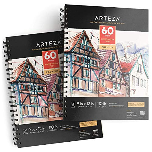 ARTEZA 9x12 Mixed Media Sketch Pad, 2 Pack, 110lb/180gsm, 120 Sheets (Acid-Free, Micro-Perforated), Spiral-Bound Pad, Ideal for Wet and Dry Media, Sketching, Drawing, and Painting