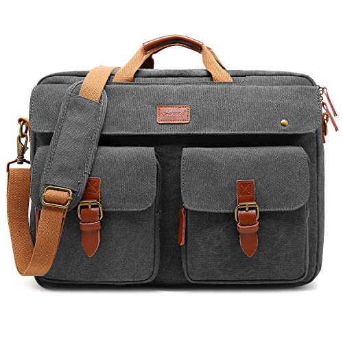 CoolBELL Convertible Messenger Bag Backpack Laptop Shoulder Bag Business Briefcase Leisure Handbag Travel Bag Fits 17.3 Inch Laptop for Men/Women (Canvas Grey)