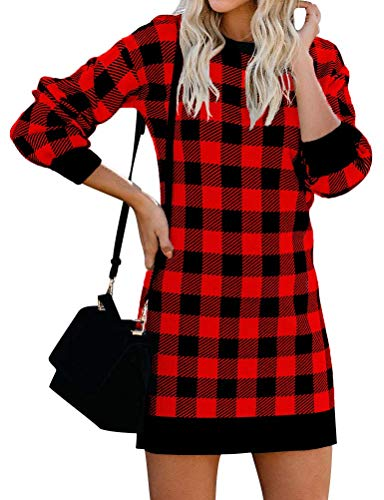 MYMORE Women's Winter Long Sleeve Round Neck Red Plaid Printed Tunic Sweatshirt Dress