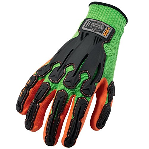 Ergodyne ProFlex 920 Nitrile-Dipped Impact-Reducing Work Gloves, XX-Large, Lime