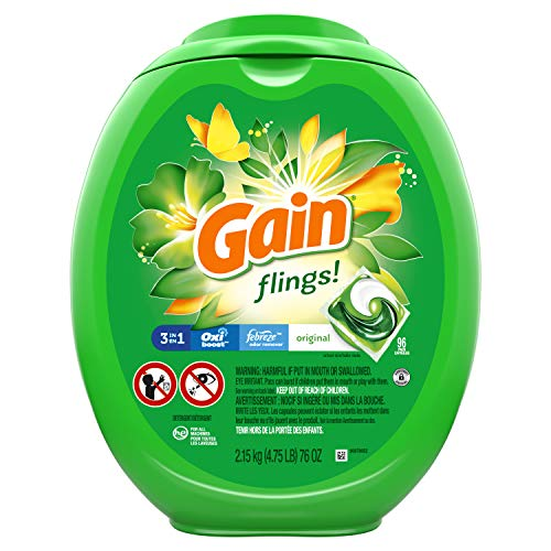 Gain flings! Liquid Laundry Detergent Pacs, Original Scent, HE Compatible, 96 Count