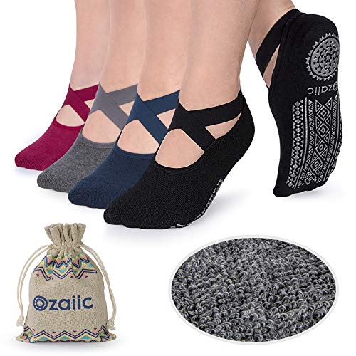 Ozaiic Non Slip Grip Socks for Yoga Pilates Barre Fitness, Anti Skid Hospital Labor Delivery Socks with Grips for Women