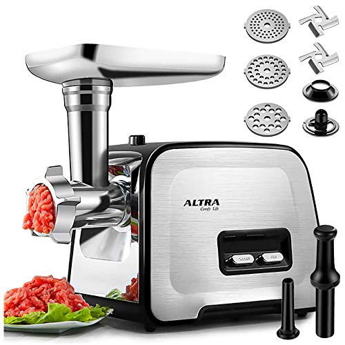 Powerful ALTRA Electric Food Meat Grinder, Heavy Duty Multifunction Meat Mincer Sausage Stuffer with Sausage Tube & Kubbe Maker, 2 Stainless Steel Blades, 3 Sizes Plates, Concealed Storage Box Design
