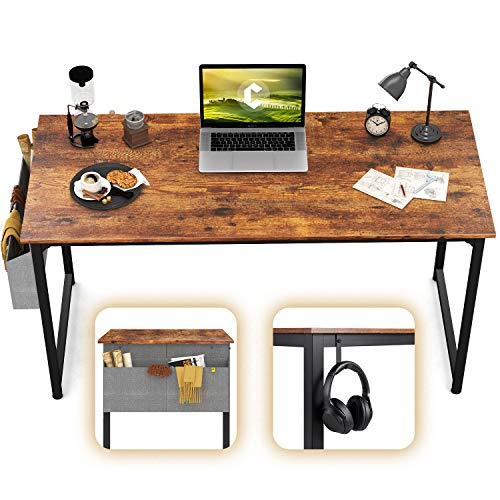 CubiCubi Computer Desk 47' Study Writing Table for Home Office, Industrial Simple Style PC Desk, Black Metal Frame, Rustic