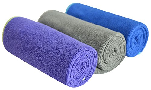 SINLAND Microfiber Gym Towels Sweat Workout Sports Fitness Towel Fast Drying 3 Pack 16 Inch X 32 Inch