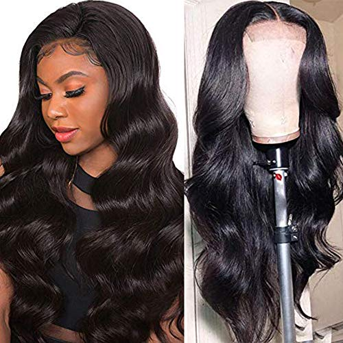 Ucrown Hair Lace Front Wigs Brazilian Body Wave Human Hair Wigs For Black Women 150% Density Pre Plucked with Baby Hair Natural Black (20 inch)