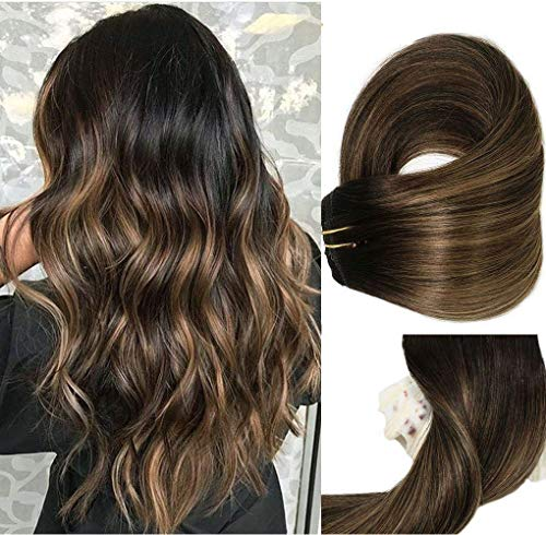 Clip In Human Hair Extensions Thicken Double Weft 9A Brazilian Hair 120g 7pcs Natural Black to Chestnut Brown Highlight Black Full Head Silky Straight 100% Human Hair Clip In Extensions 14 Inch