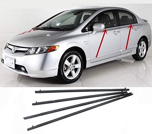 MotorFansClub 4PCS Weatherstrip Window Seal fit for Compatible with Honda Civic 2006 2007 2008 2009 2010 2011, Door Outside Trim Seal Belt, Black