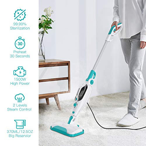 Steam Mop Cleaner,12 in 1 Convenient Detachable Handheld Steam Cleaner for Hardwood, Tiles,Carpet with Multifunctional Tools,1500W Handheld Steamer for Kitchen,Garment and Furniture,20 Feet Power Cord