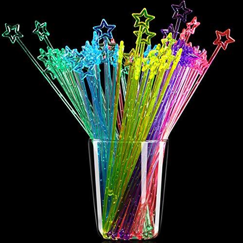 100 Pieces 9.1 Inch Star Top Swizzle Sticks Disposible Plastic Star Top Crystal Swizzle Sticks (Multicolor)