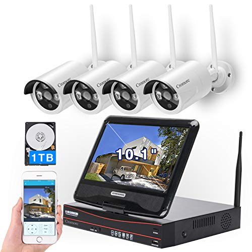 [8CH, Expandable] All in one with 10.1' Monitor Wireless Security Camera System, Cromorc Home Business CCTV Surveillance 8CH 1080P NVR, 4pcs 1080P Indoor Outdoor Night Vision Camera, 1TB Hard Drive