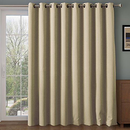 Rose Home Fashion RHF Function Curtain-Wide Thermal Blackout Patio Door Curtain Panel, Sliding Door Insulated Curtains,Extra Wide Curtains,Vertical Blinds,Grommet Curtains(Beige-100 by 96 Inches)