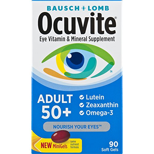 Bausch + Lomb Ocuvite Adult 50+ Vitamin & Mineral Supplement with Lutein, Zeaxanthin, and Omega-3, Soft Gels, 90-Count