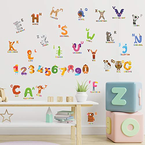 JesPlay Animal ABC & 123 Adhesive Wall Decals Wall Décor Stickers for Kids & Toddlers Include Alphabet, Letters & Numbers - Removable Wall Decor for Bedroom, Living Room, Nursery, Classroom