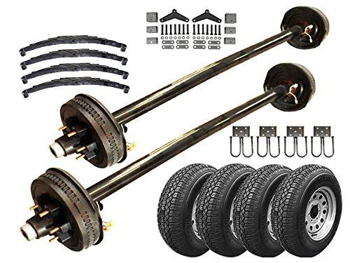 5.2k Heavy Duty Tandem Axle TK Trailer kit - 10,400 lb Capacity (73' Hubface - 58' Spring Center(5'0 Frame), Add Spare (15' 225/75 R15 10 ply Radial TWA))