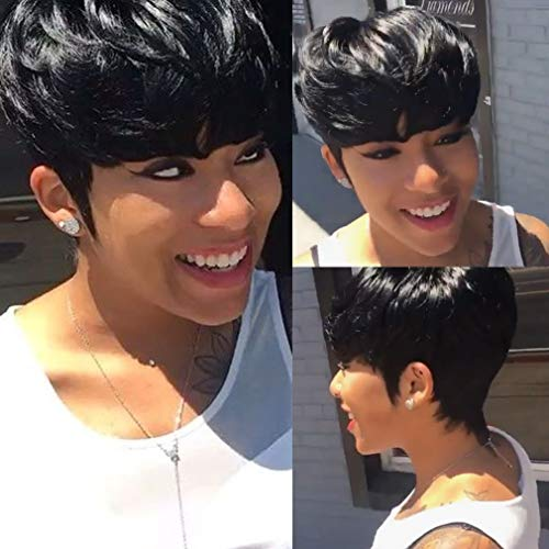 VCK Short Pixie Wigs for Black Women Human Hair Wigs Short Layered Cut Wigs with Bangs 1B Color