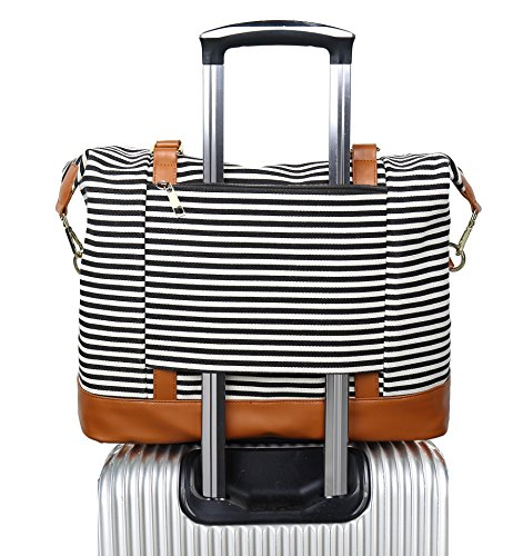 Women Ladies Canvas Weekender Bag Overnight Carry-on Tote Duffel in Trolley Handle (Black Stripe)