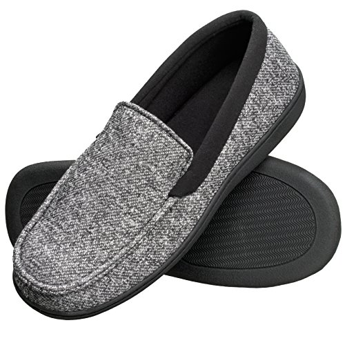 Hanes Men's Slippers House Shoes Moccasin Comfort Memory Foam Indoor Outdoor Fresh IQ (Large (9.5-10.5), Black)