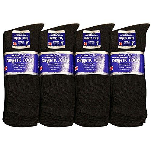 Diabetic Socks Men Unisex Size 10-13 Black 63-2040-12PAIRS