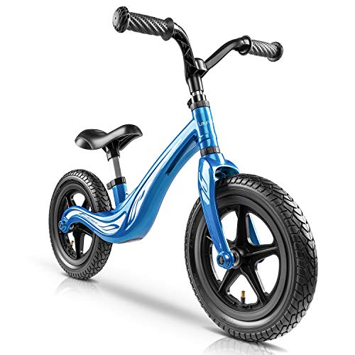Lauraland Toddler Balance Bike, Kids Training Bicycle with Made of Lightweight Magnesium Alloy, Air-Filled Rubber Tires, No-Pedal Pre Walking Bike for Toddler & Children Ages 2 to 5 Years, Blue