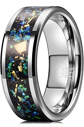 THREE KEYS JEWELRY Mens Tungsten Carbide Galaxy Colourful Foil Opal 8mm Unisex Wedding Flat Bands Rings for Men Comfort Fit Vintage Silver Size 15