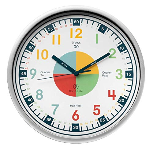 Telling Time Teaching Clock - Kids Room, Playroom Décor Analog Silent Wall Clock. Great Visual Learning Clock Time Resource. Perfect Educational Tool for Homeschool, Classroom, Teachers and Parents.