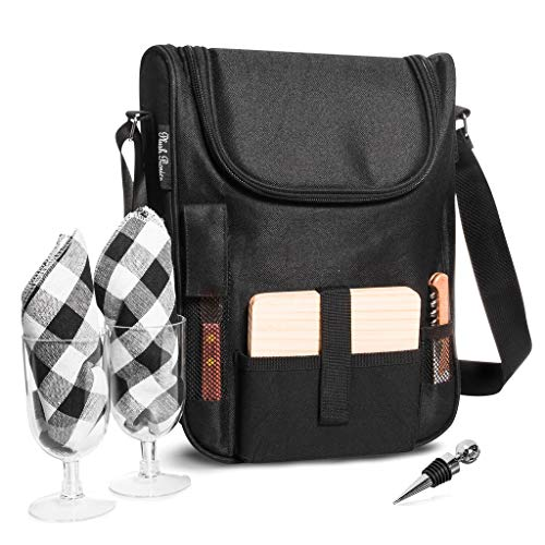 Insulated Travel Wine Tote Bag: Portable 2 Bottle Wine and Cheese Waterproof Black Canvas Carrier Bag Set with Picnic Backpack Kit (Black)