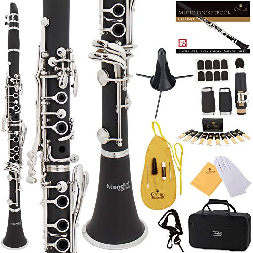 Mendini by Cecilio B Flat Beginner Student Clarinet with 2 Barrels, Case, Stand, Pocketbook, Mouthpiece, 10 Reeds, Mouthpiece Brush, Mouthpiece Cushion, Thumb Rest Cushion, and 1-Year Warranty