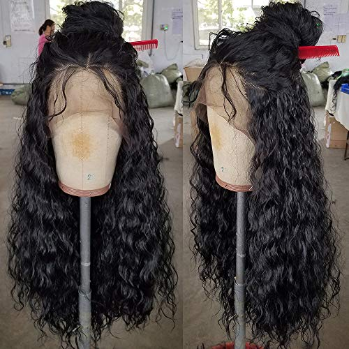 QD-Tizer Loose Curly Hair Wigs Synthetic Lace Front Wigs for Black Women Balck Long Curly Lace Front Wigs with Baby Hair Heat Resistant 180% Density