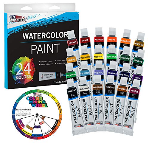 U.S. Art Supply Professional 24 Color Set of Watercolor Paint in 12ml Tubes - Vivid Colors Kit for Artists, Students, Beginners - Bonus Color Mixing Wheel