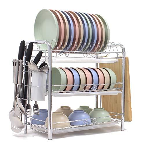 Dish Drying Rack 3-Tier Chrome Plating Dish Rack Stainless Steel Kitchen Dish Drainer Rack Organizer Tool-Free Installation With Utensil Holder/Drain Board/Bracket 3 Layers