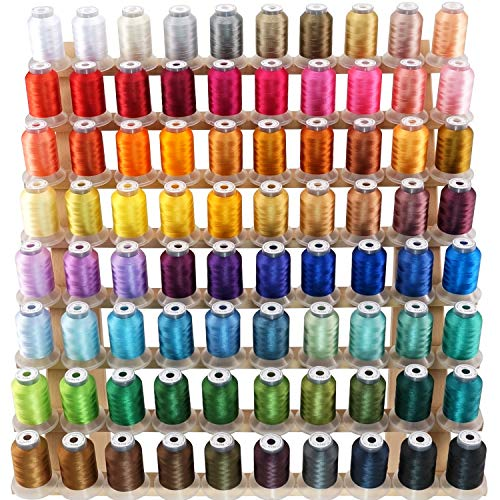 New brothread 80 Spools Polyester Embroidery Machine Thread Kit 500M (550Y) Each Spool - Colors Compatible with Janome and RA Colors