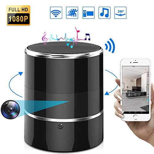Hidden Spy Wireless WiFi Camera Full HD 1080P Security Nanny Cam in Bluetooth Speaker,Remote Control,Rotating Angle of View 240°,Motion Detection for Home Office Store
