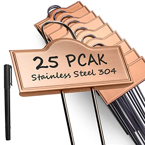 Metal Plant Labels Waterproof 25 Pack, Outdoor Garden Markers Tags for Plants Vegetables Herb Seedlings Flowers with a Pen, Height 10.6 Inch, Label Area 3.7'' x 1.3''