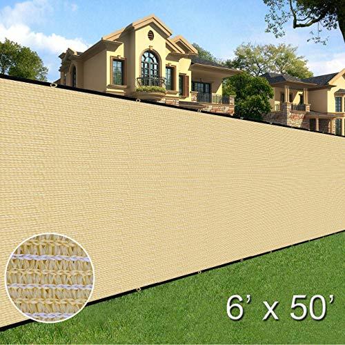 Sunnyglade 6 feet x 50 feet Privacy Screen Fence Heavy Duty Fencing Mesh Shade Net Cover for Wall Garden Yard Backyard (Sand)