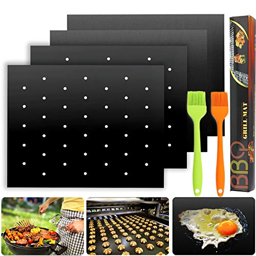 Hsonline 2020 Upgraded Non Stick BBQ Grill Mat with Holes + Solid Grill Pads Kit, Heavy Duty Reusable Fireproof Topper Pad with 2 Brush, Dishwasher Safe Gas Charcoal Electric Grill Accessories