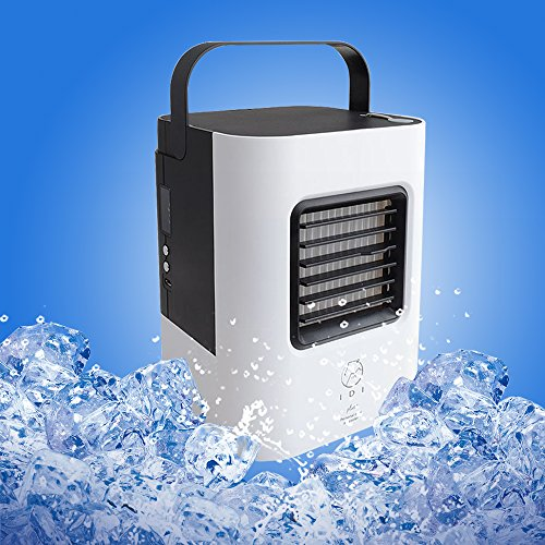 YOUDirect Personal Space Air Cooler Small Fan, USB Portable Mini Air Conditioner Fan, Mini Desktop Fan Table Fan Handled Fan with LED Light (Black)