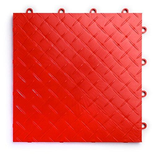 RaceDeck Diamond Plate Design, Durable Interlocking Modular Garage Flooring Tile (24 Pack), Red