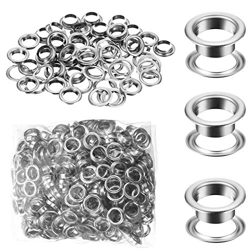 500 Pieces Grommet and 500 Pieces Washer Grommet Kit Nickel Finish Grommet Eyelet for Clothes Fabric Leather Tag Bag (1/4 Inch)