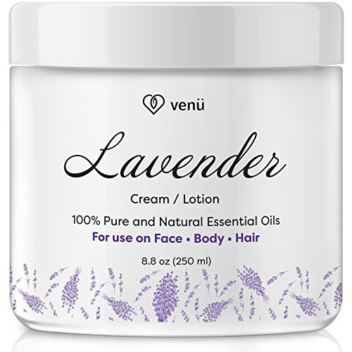 Lavender Essential Oil Lotion – Daily Moisturizing Cream for Face, Body and Hair – All Natural – Disinfects, Boosts Circulation, Relieves Pain – For All Skin Types – by Venu