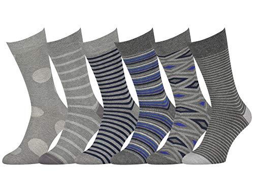 Easton Marlowe Dress Socks Mens Socks Patterned Casual Crew Gray Charcoal Blue Navy 6-Pack #47 10-13