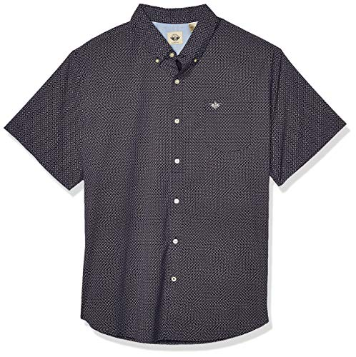 Dockers Men's Short Sleeve Button-Down Comfort Flex Shirt, Farrington Blue, Large